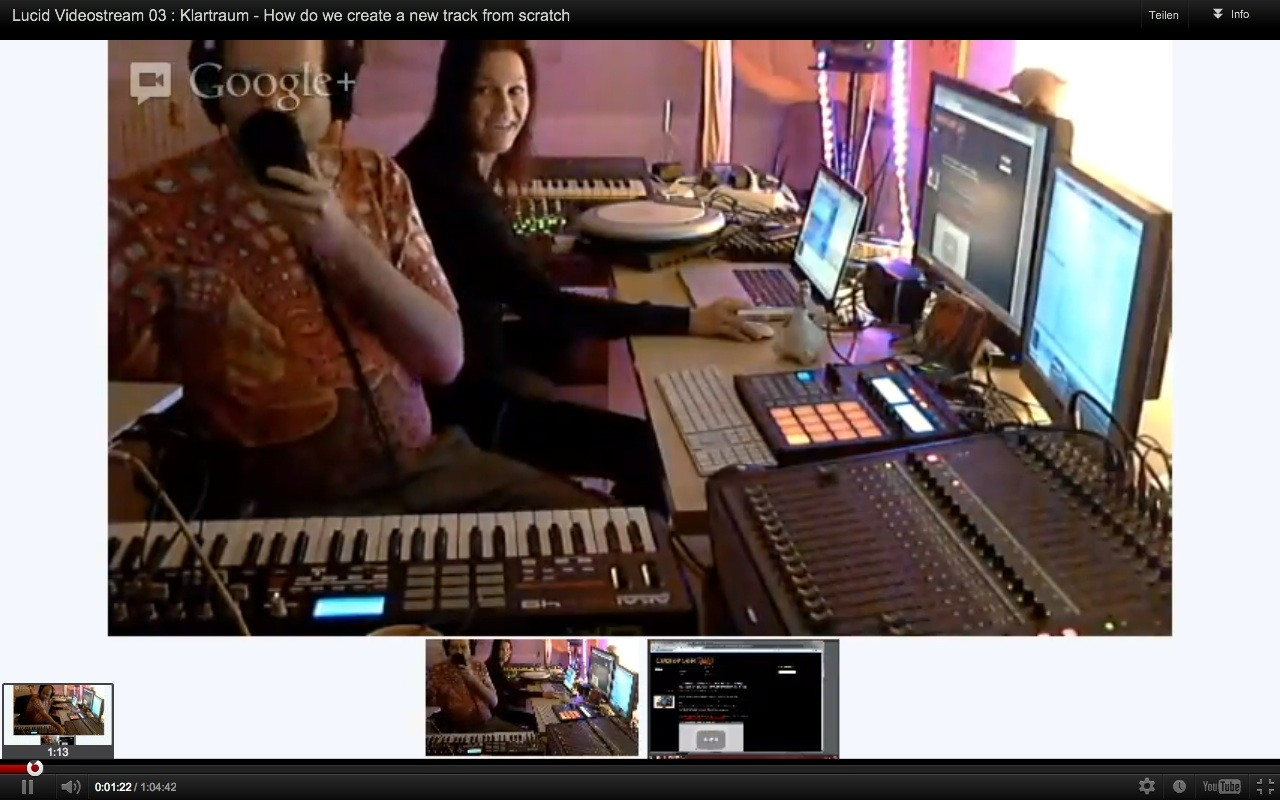 Lucid Video Livestream 03: Klartraum – Creating a new track live (Sunday 14.10.2012 19:30 Berlin Time)